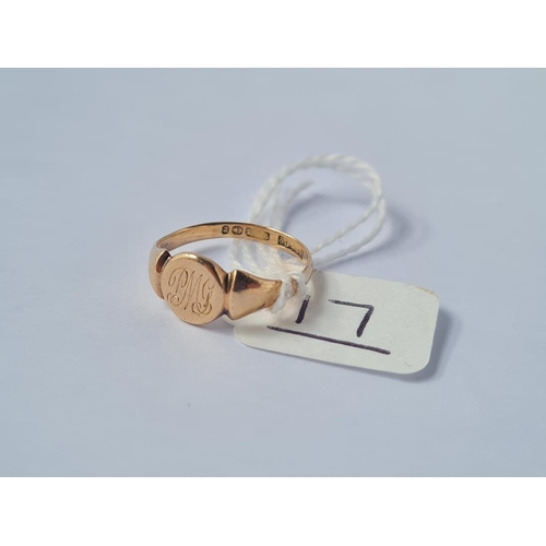 17 - A signet ring in 9ct - size I - 1.7gms