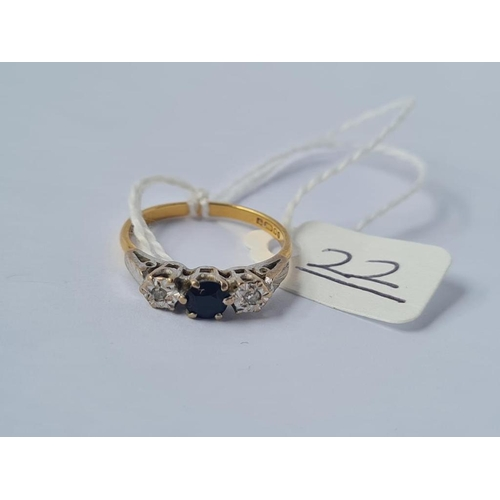 22 - Three stone sapphire & diamond ring in 18ct gold - size 0 - 2.6gms