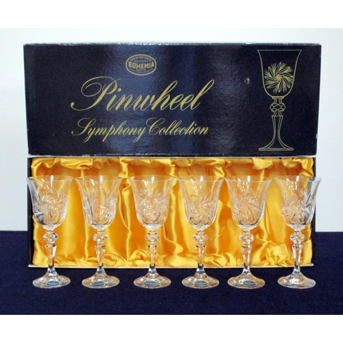 12 - 6 Bohemia Hand Cut Lead Crystal 90ml Goblets, lined presentation case, 2 vsl chipped rims