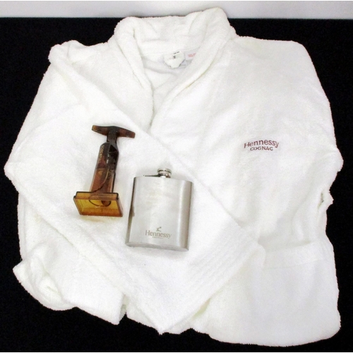 4 - A Hennessy Bath Robe A Hennessy Hip Flask and  A Screw Pull Corkscrew Above three items