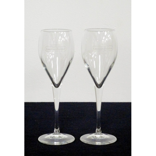 5 - 2 Champagne Flutes, Laurent Perrier etching