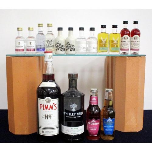 58 - 1 litre bt Pimms N° 1 1 70-cl bt Whitely Neill Rye Vodka 43% 2 5-cl bts Liverpool  Gin Rose Petal 43...