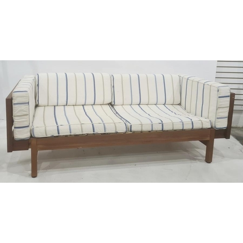 1347 - Mid century, possibly Danish, designer day bed, the woven end arms extending, on draw mechanism, whi...