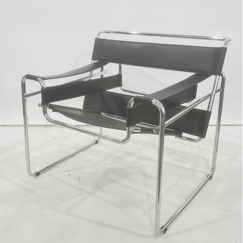 1348 - Wassily - style chairin black leather and chrome