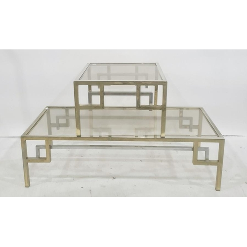 1349 - Rectangular and square glass-topped chrome based coffee tables(2)