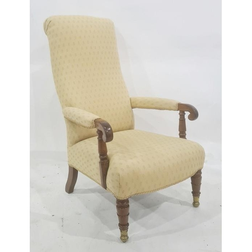 1385 - Late Georgian mahogany framed armchair in pale yellow patterned upholstery, turned front legs, unusu...
