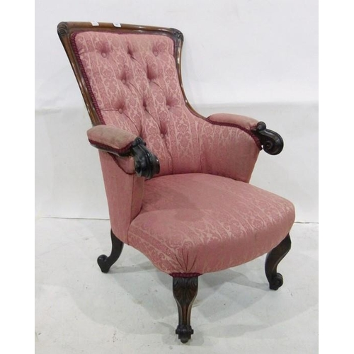 1387 - 19th century rosewood armchair with pink patterned upholstery, carved cabriole legs