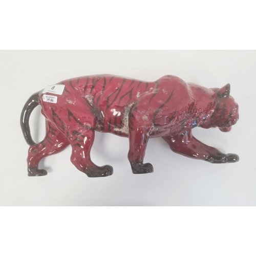 8 - Royal Doulton flambe large tiger, 35cm x 36cm approx.