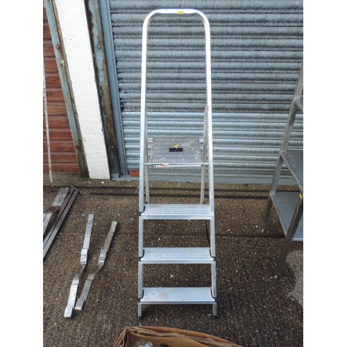 126 - Folding Aluminium three tread step ladders...