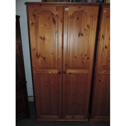 161 - Two door Pine wardrobe - 36''x 21''x 71''...