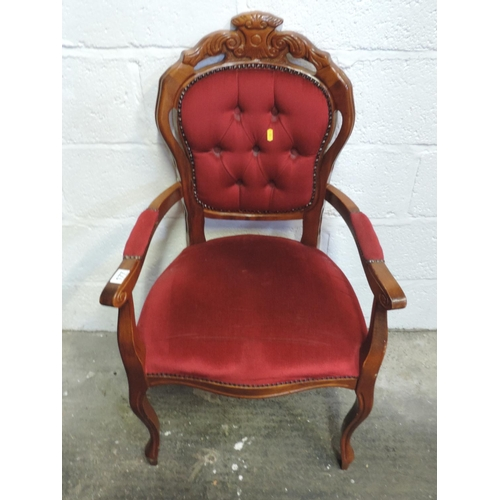 177 - Reproduction carver chair with upholstered seat and back...