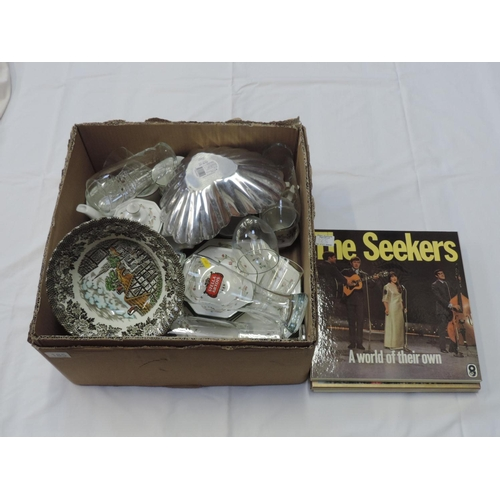 185 - Box of china, glassware - Johnson Brothers Eternal Beau and some records...