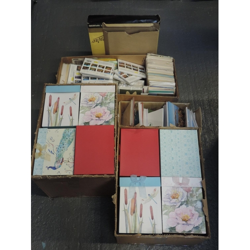 193 - Quantity - shelf of greetings cards and gift boxes...