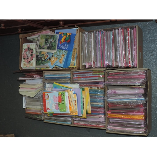 195 - Quantity - shelf of greetings cards...