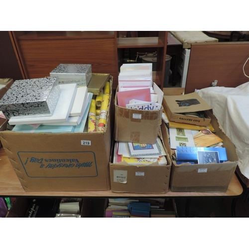 219 - Quantity of greetings cards, gift boxes etc...