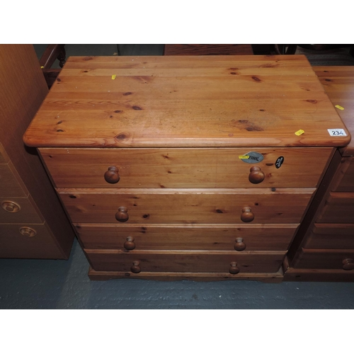 234 - Pine four drawer chest of drawers...