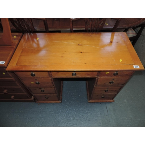 238 - Pine nine drawer desk - 41''x 19''x 29''...