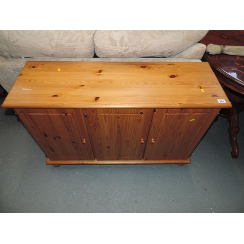241 - Pine cabinet with three doors - 46''x 15''x 30''...
