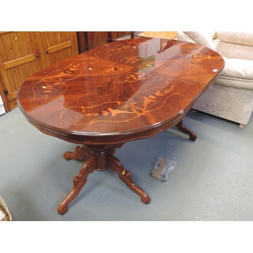 248 - Modern inlaid twin pedestal oval dining table...