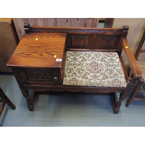 251 - Oak Old Charm-style telephone seat...