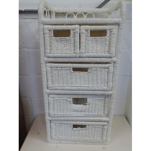 257 - White woven chest of drawers...