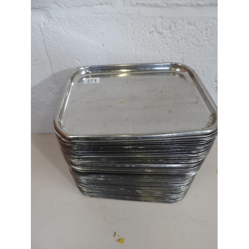271 - Quantity (50+) Stainless steel trays - 12''x 10''...