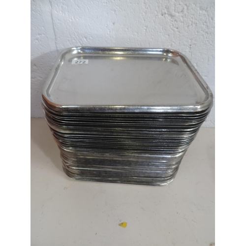 272 - Quantity (50+) Stainless steel trays - 12''x 10''...