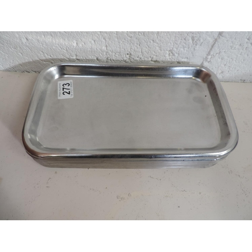 273 - 10x Stainless Steel trays - 12''x 7''...
