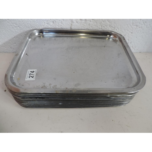 274 - Approx 18x Stainless steel trays - 14''x 11''...