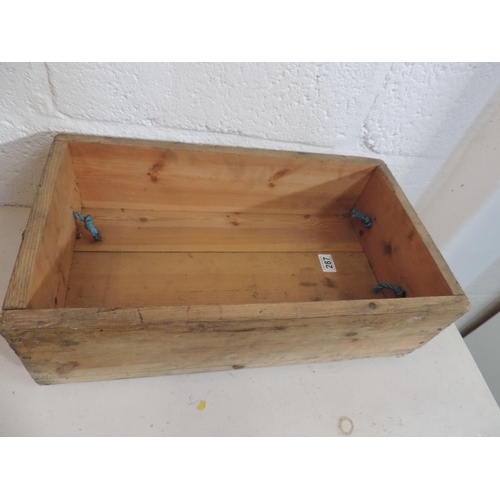 287 - Wooden rope handle box...