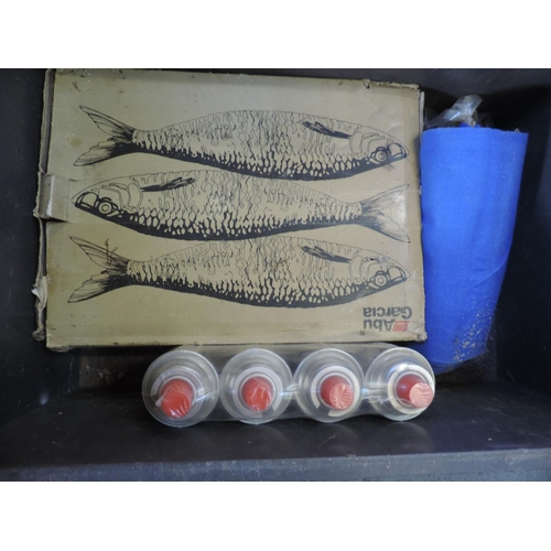 297 - Plastic crate and contents - fish smoker etc...