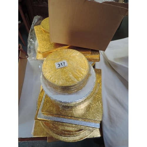 317 - Large Quantity of Silver and Gold coloured cake boards...