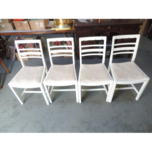 325 - 4x Painted dining chairs with upholstered seats...