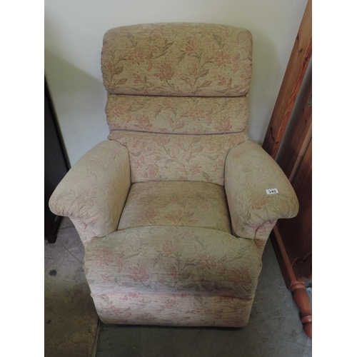340 - Upholstered reclining armchair...
