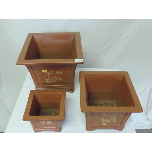 347 - 3x Graduated Oriental-style planters...
