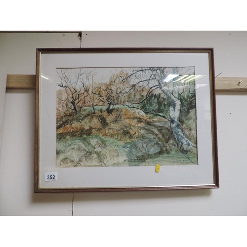 352 - Framed watercolour - signed Blake...