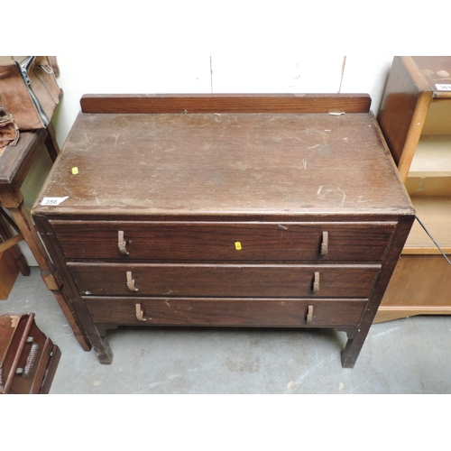 356 - Oak three drawer chest of drawers - 33''x 17''x 28''...