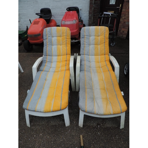 36 - 2x Garden sun loungers with cushions...