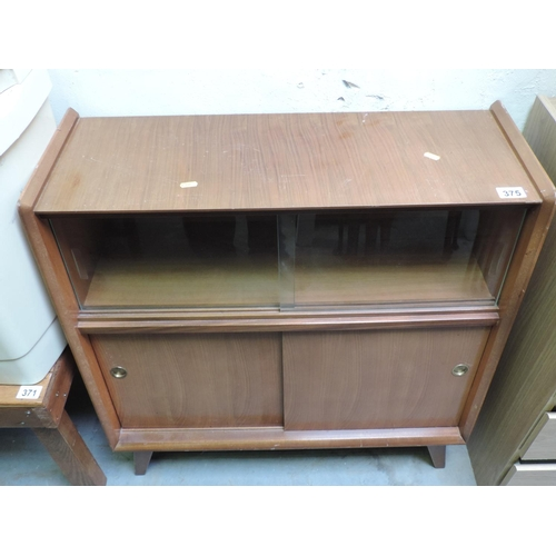 375 - Small glazed cabinet with cupboard under...