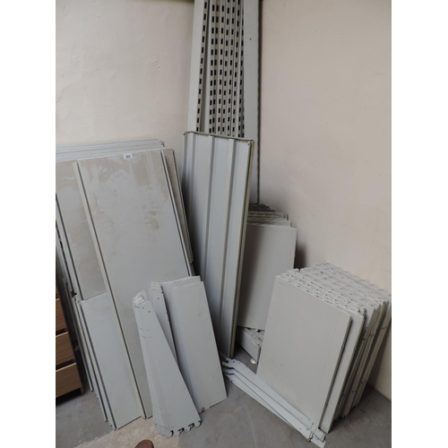 380 - Quantity of metal shop display shelving...