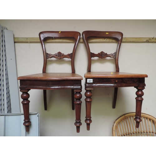 381 - Pair of Mahogany dining chairs with carved detail...
