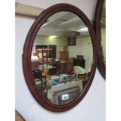 383 - Oval Mahogany Framed mirror...