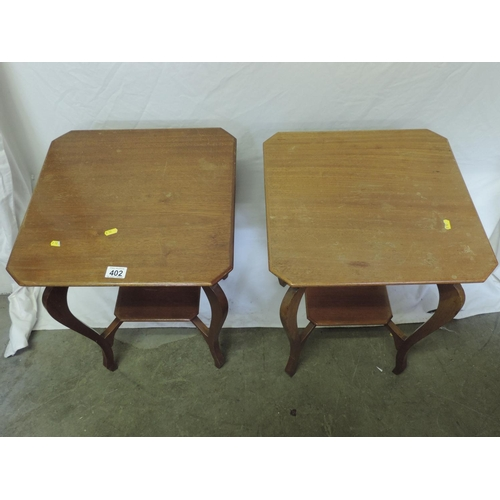 402 - Pair of occasional tables with shelves under...