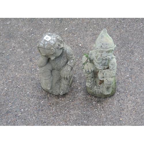 41 - 2x Concrete garden gnomes...