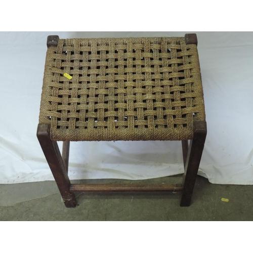 412 - Rush seated stool...
