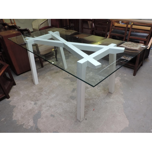 415 - Modern glass-top dining table...