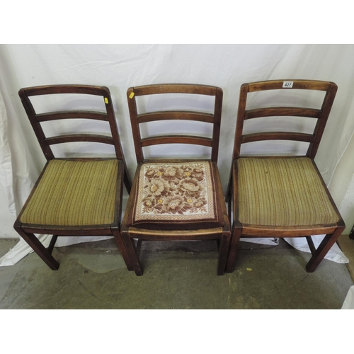 427 - 3x Oak dining chairs...