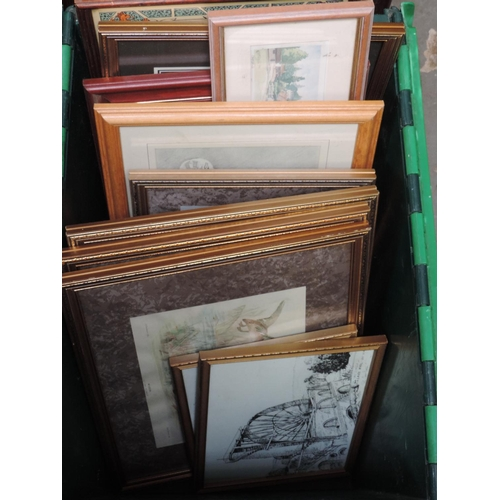 440 - Plastic crate and contents- picture frames, pictures...