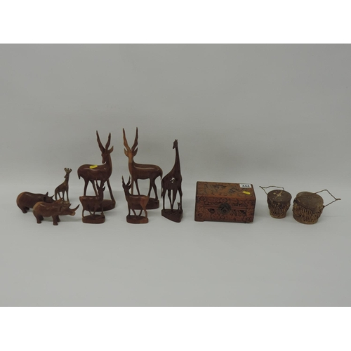 444 - Treen animals, drums, jewellery box etc...