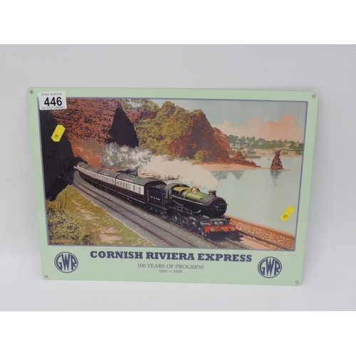 446 - Metal sign for Cornish Riviera Express...